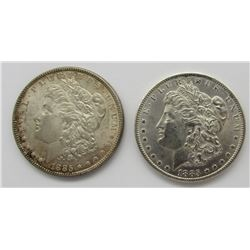 1885 & 1885-O BU MORGAN SILVER DOLLARS
