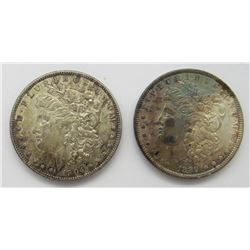 1889 & 1904-O BU TONED MORGAN DOLLARS