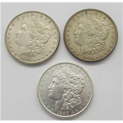3-AU/UNC MORGAN DOLLARS:  1885, 1890, 1904-O