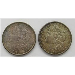 1883-O & 1884-O BU RAINBOW TONED MORGANS