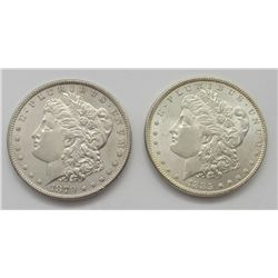 2-BU WHITE MORGAN DOLLARS:  1885 & 1879-S REV '79