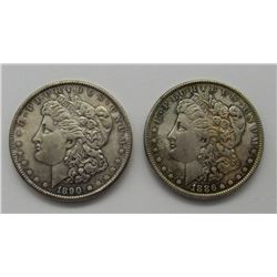 2-AU/UNC MORGAN DOLLARS:  1886 & 1890