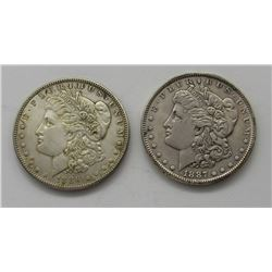 2-AU/UNC MORGAN DOLLARS:  1886 & 1887