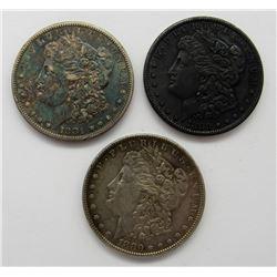 1881-S, 1880-O,  1880-S AU/UNC TONED MORGANS