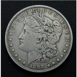 1893 MORGAN SILVER DOLLAR F/XF