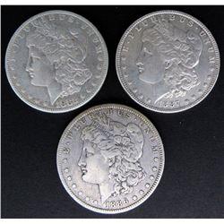1882 FINE, 1886-O FINE, 1887 XF MORGAN DOLLARS