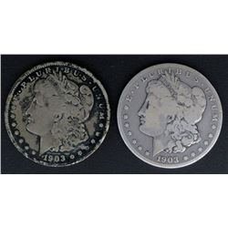 1903-O  & 1903-S MORGAN DOLLARS VG/G