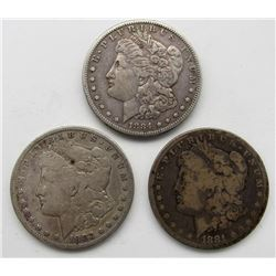 1883-S, 1884-S, 1881-S MORGAN DOLLARS