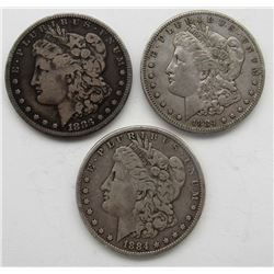 1884, 1884-S 1883-S MORGAN DOLLARS