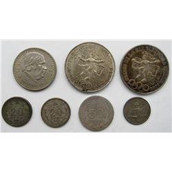 2- 1968 MEXICO 25 PESOS, (.720 SILVER) CIRCS, 1921