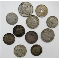 11 - FOREIGN SILVER COINS 1800'S & EARLY 1900'S