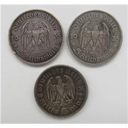 2 - 1935 GERMANY 5 MARK SILVER REICH;
