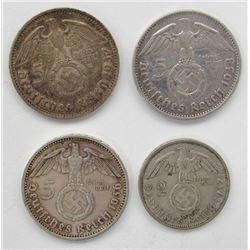 1936, 1937, 1938 GERMAN 5 MARK WWII THIRD REICH;