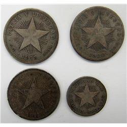 REPUBLIC DE CUBA 4 SILVER COINS