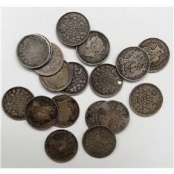 19 - CANADA SILVER 5c PIECES 1800'S - 1900'S CIRCS