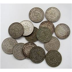 14 - MEXICO 1 PESO COINS, 1957, '59, 4 - '60,
