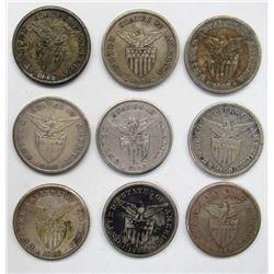 9 - U.S. TERRITORIAL SILVER DOLLARS 1907 - 1912