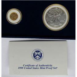 1999 AMERICAN GOLD 1/10th EAGLE; 1999 AMERICAN
