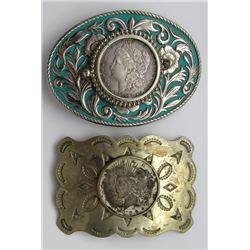 2-Silver Dollar Belt Buckles