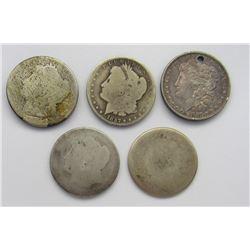 5-Cull Morgan Silver Dollars damaged 1887,1880