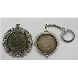2-Morgan Silver Dollars in pendants AU Morgan