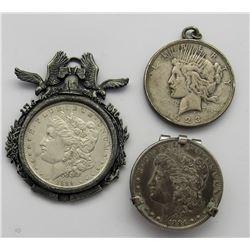 3- Silver Dollars 2 Pendants 1 sterling money clip