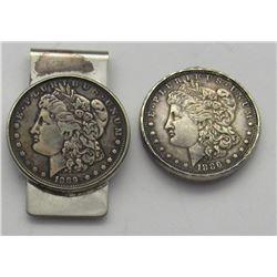 2- Morgan Silver Dollars key chain, pendant