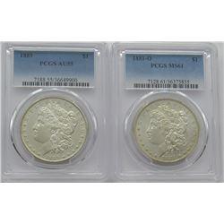 PCGS Morgan Dollars 1881-O MS 61, 1889 AU55