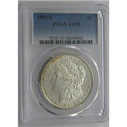1891-S PCGS AU55 Morgan Silver Dollar $