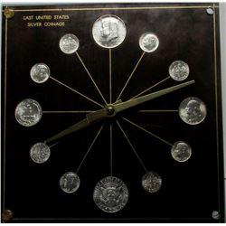 SILVER COINAGE CLOCK - ALL 1964 BU COINS