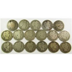 BARBER QTR LOT of 17 COINS
