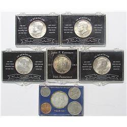 5- 1964 Kennedy BU Half Dollars; 1966 BU Year