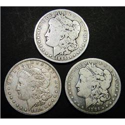 1886-O, 1889-O, 1896-O MORGAN DOLLARS CIRC