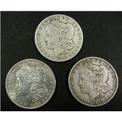1900-O, 1901-O, 1904-O MORGAN $ CIRC OR BETTER