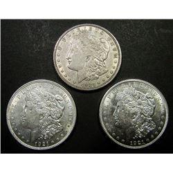 2-1921-D, 1-1921 MORGAN DOLLARS AU/UNC
