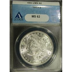1885 MORGAN DOLLAR ANACS MS 62