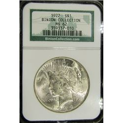 1922 PEACE DOLLAR BINION COLLECTION NGC MS 62
