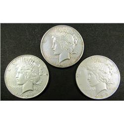 1928-S, 1934-D, 1935-S PEACE $ CIRC