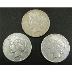 1922, 1923-S, 1925 PEACE $ CIRC