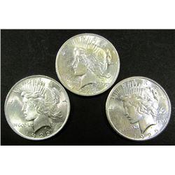 1922, 1923, 1925 PEACE $ AU/UNC