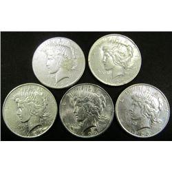 1922-D, (2) 1923-S, (2) 1923 PEACE DOLLARS