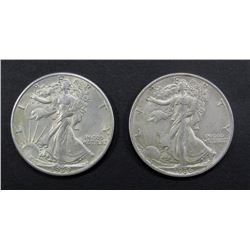 1936 & 1939 WALKING LIBERTY HALF DOLLARS AU/BU
