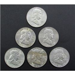 6- FRANKLIN HALF DOLLARS MIX AU/BU