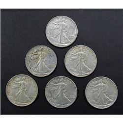 6- WALKING LIBERTY HALF DOLLARS AU/BU