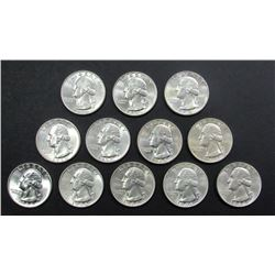 12- 1964 WASHINGTON QUARTERS AU/BU