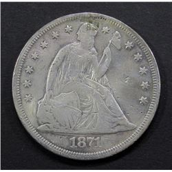 1871 SEATED DOLLAR FINE WITH DETAILS