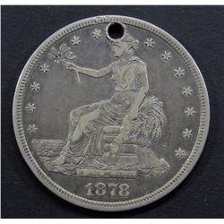 1878-S TRADE DOLLAR FINE- HOLED