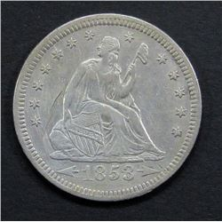 1853 RAYS/ ARROWS SEATED QUARTER XF/AU