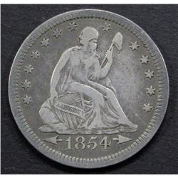 1854 ARROWS/ NO RAYS SEATED QUARTER F/VF