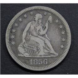 1856-O SEATED QUARTER- VF- RIM NICK